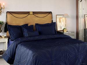 Cuvertura de pat matlasata Valeron Lapronda albastru navy