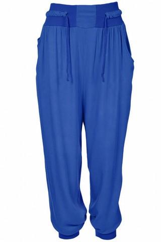 Pantaloni largi cu snur in talie - Albastru
