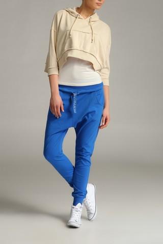 Pantaloni sport cu turul lasat - Albastru