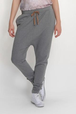 Pantaloni sport cu turul lasat - Gri light