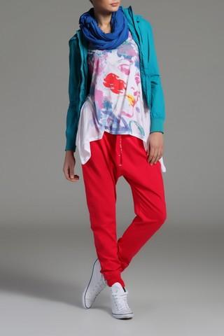 Pantaloni sport cu turul lasat - Rosu