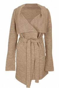 Pullover lung cu cordon - beige