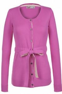Pullover lung cu nasturi si cordon - Roz