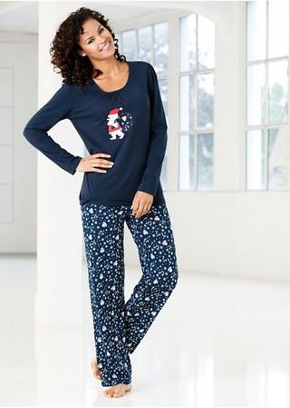 Pijama dama marimi mari Infinity albastru. Compleu pijama de dama, alcatuit din bluza uni cu desen imprimat pe piept si pantalon lung imprimat. Model disponibil la seria de marimi mari, de la 1xl pana la 3xl. Compozitie: Bumbac %.